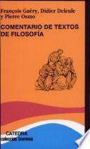 libro Comentario De Textos De Filosofía