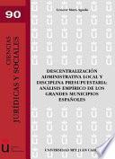 libro Descentralización Administrativa Local Y Disciplina Presupuestaria